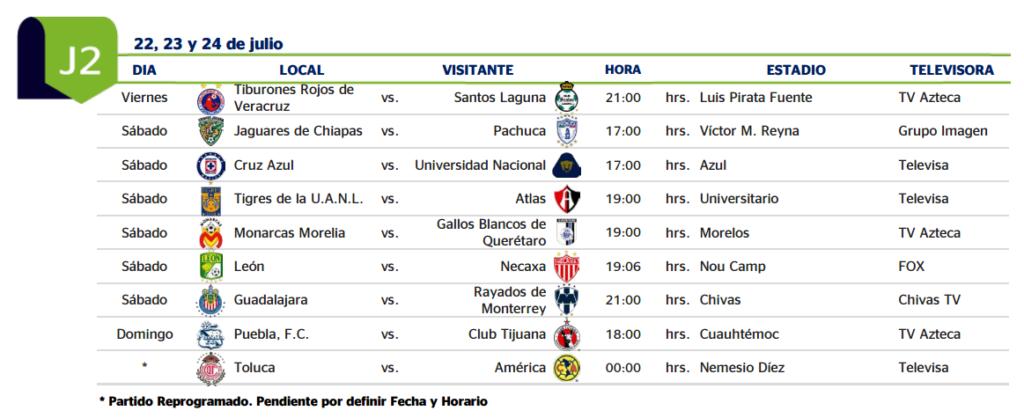 ... LEER Y GUARDAR: El calendario completo del Apertura 2016 de México