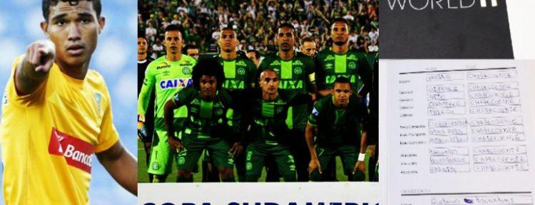 QUÉ GRAN DETALLE: Gustavo Tocantins le dio todos sus votos en el FIFA/FIFPro World XI a jugadores del Chapecoense